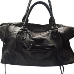 Leather Handbag BALENCIAGA Gray, charcoal