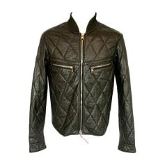 Leather Zipped Jacket DIESEL Khaki