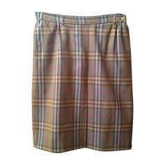 Jupe mi-longue BURBERRY fond brun clair, carreaux beige, orange, bleu