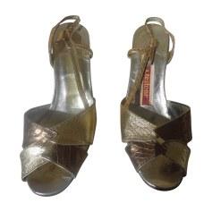 Sandales à talons A. TESTONI Doré, bronze, cuivre