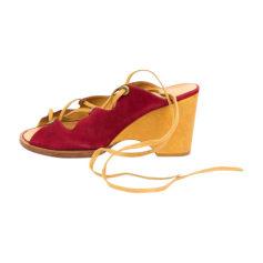 Sandales compensées ROBERT CLERGERIE Rouge, bordeaux