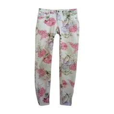 Jeans slim RALPH LAUREN ecru avec impressions fleurs pastel