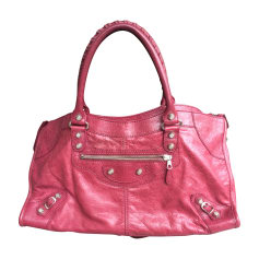 Leather Handbag BALENCIAGA Part Time Red, burgundy