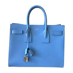 Sac à main en cuir SAINT LAURENT Sac de Jour Bleu, bleu marine, bleu turquoise