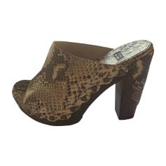Sandales compensées STUART WEITZMAN Doré, bronze, cuivre