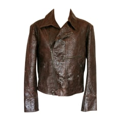 Leather Zipped Jacket VERSACE Brown