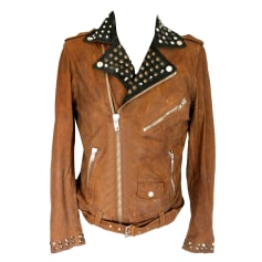 Leather Zipped Jacket DIESEL Brown
