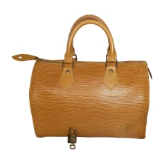 Leather Handbag LOUIS VUITTON Speedy Yellow