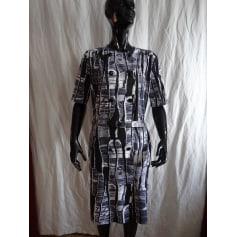 Robe mi-longue MARCELLE GRIFFON dégradé due l'ecru au noir