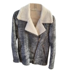Leather Jacket SANDRO Gray, charcoal