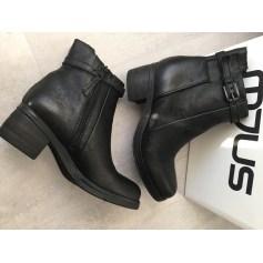Bottines & low boots motards MJUS Noir