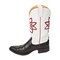 Santiags, bottines, low boots cowboy MEXICANA Blanc, blanc cassé, écru