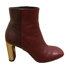 High Heel Ankle Boots CÉLINE Bam Bam Red, burgundy