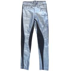 Jeans slim ACNE Argenté, acier
