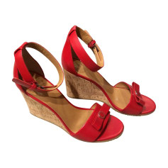 Wedge Sandals Red, burgundy