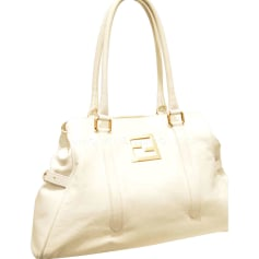 Borsa XL in pelle FENDI Bianco, bianco sporco, ecru
