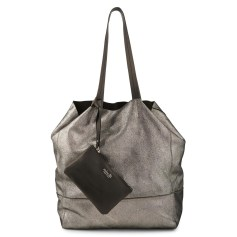 Leather Oversize Bag MINELLI Silver