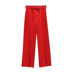 Pantalon large CAROLINA HERRERA Rouge, bordeaux