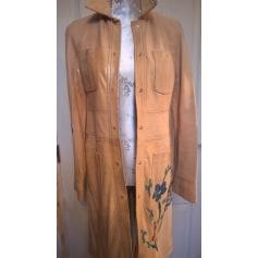 Leather Coat DKNY Beige, camel