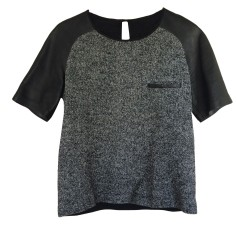 Top, tee-shirt SANDRO Gris noir blanc