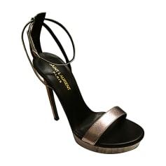 Sandales à talons YVES SAINT LAURENT Argenté, acier e630732b7b2