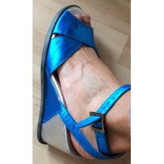 Sandales compensées ARCHE Bleu & argent