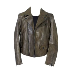 Leather Zipped Jacket BURBERRY Brown