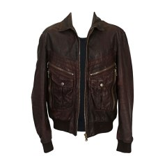 Leather Zipped Jacket DOLCE & GABBANA Brown