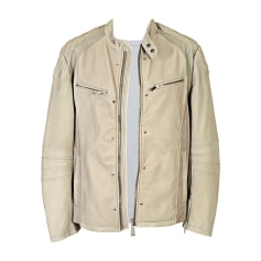 Leather Zipped Jacket JUST CAVALLI Cream