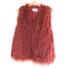 Fur Sleeveless Vest ZARA Red, burgundy