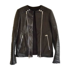 Leather Zipped Jacket BALMAIN Black