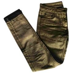 Jeans slim SANDRO Doré, bronze, cuivre