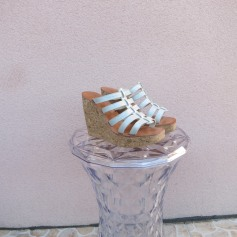 Sandales compensées ANN TUIL Argenté, acier