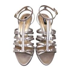 Sandales à talons BALLY Ardoise perlée métallisée