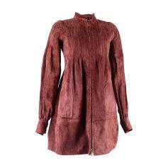 amp; Pas Luxe Bordeaux Daim Femme Vestes Marque Manteaux Rouge De TwqZpZgd