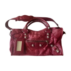 Leather Handbag BALENCIAGA City Red, burgundy