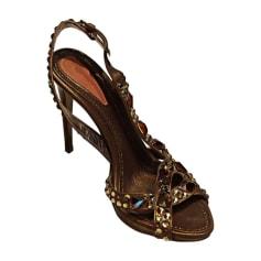 Escarpins à bouts ouverts BALDININI Doré, bronze, cuivre