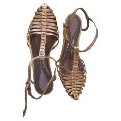 Sandales plates  ANYA HINDMARCH Doré, bronze, cuivre