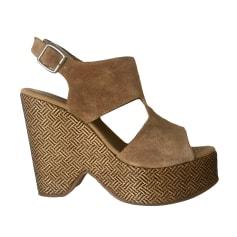 Sandales compensées CLAUDIE PIERLOT Camel