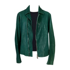 Leather Zipped Jacket EMPORIO ARMANI Green