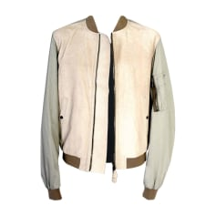 Leather Zipped Jacket BURBERRY White, off-white, ecru