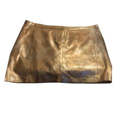 Jupe courte MAJE Doré, bronze, cuivre