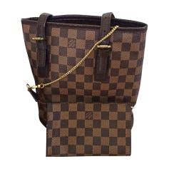 Leather Handbag LOUIS VUITTON Bucket Brown