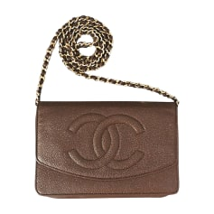 Leather Clutch CHANEL Wallet-On-Chain Brown