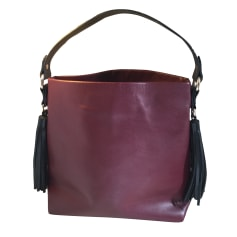 Leather Handbag ZARA Red, burgundy