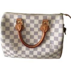 Non-Leather Handbag LOUIS VUITTON Speedy White, off-white, ecru