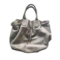 Leather Handbag REPETTO Gris taupe
