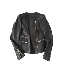 Leather Zipped Jacket MAJE Gray, charcoal