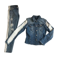 Veste en jean PHILIPP PLEIN Bleu, bleu marine, bleu turquoise