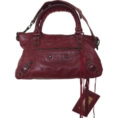 Leather Handbag BALENCIAGA First Red, burgundy